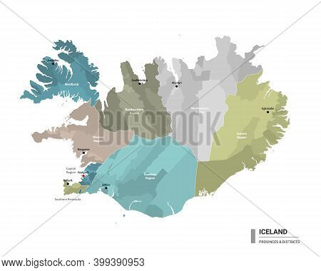 Iceland Higt Detailed Map With Subdivisions. Administrative Map Of Iceland With Districts And Cities