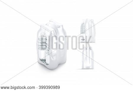 Blank Plastic Bottle In Transparent Shrink Wrap Mockup, Different Views, 3d Rendering. Empty Film Pa