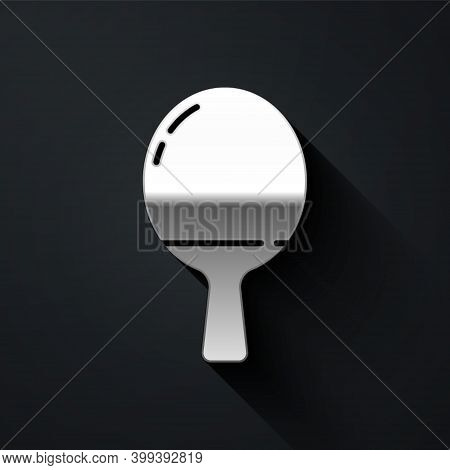 Silver Racket For Playing Table Tennis Icon Isolated On Black Background. Long Shadow Style. Vector