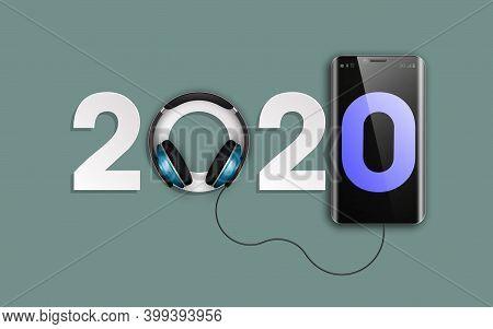 Happy New Year 2020 Party Headphones Music Background. Greeting Card Headphone Dj Player Headphone 2