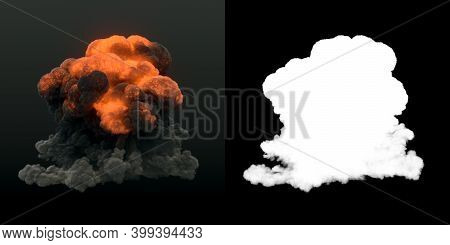 Fire Explosions With Smoke Trails Isolated On Dark Background. Alpha Channel. Burning Flames Ignitin