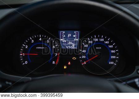 Novosibirsk, Russia - December 12, 2020: Hyundai Solaris,  New Car Interior Details. Speedometer, Ta