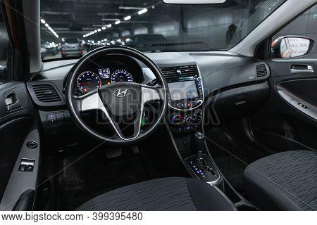 Novosibirsk, Russia - December 12, 2020: Hyundai Solaris, Luxurious Car Interior - Steering Wheel, S