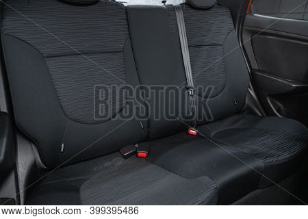 Novosibirsk, Russia - December 12, 2020: Hyundai Solaris, New Car Inside. Clean Car Interior. Black