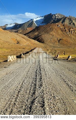 Pamir Highway Or Pamirskij Trakt. Unpaved Part. Road M41. There Is International Mountain Road In  T