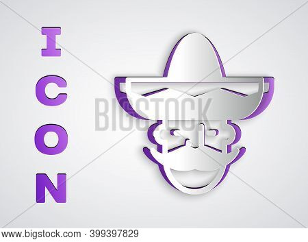 Paper Cut Mexican Man Wearing Sombrero Icon Isolated On Grey Background. Hispanic Man With A Mustach