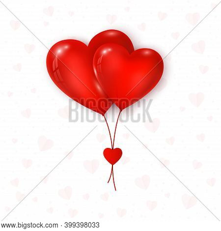 Valentines Day Greeting Card. Be My Valentine. Couple Air Balloons Red Color Heart Shape. Vector