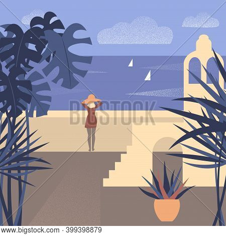 Vector Illustration Of A Girl Watching The Sea At Southern Town Beach.
