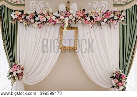 Festive Table, Arch, Stands Decorated With Composition Of Violet, Purple, Pink Flowers And Greenery