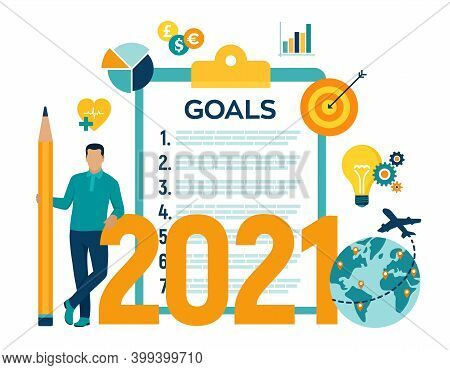2021 New Year Goals Checklist. Future Goal And Plans. List For Upcoming New Year Making Yearly Plann