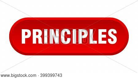Principles Button. Rounded Sign On White Background