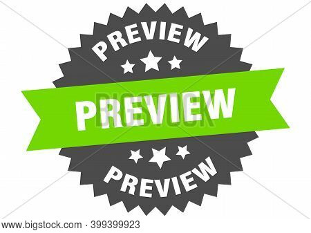 Preview Sign. Preview Circular Band Label. Round Preview Sticker
