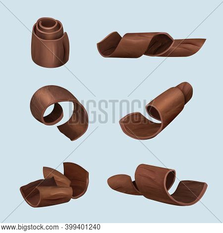 Shaving Chocolate. Gourmet Products Delicious Food Dark Curl Of Chocolate Vector Realistic Illustrat