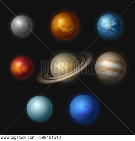 Planet Systems. Realistic Universe Objects Stars Systems Astronomy Moon Gravity Jupiter Vector Colle