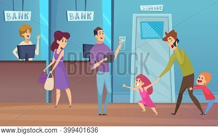 Bank Service. Busy Dad And Kids, Financial Conculting Vector Illustration. Client Busy With Naughty