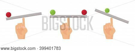Finger Balance. Human Hand And Seesaw, Flat Equilibrio Desk With Ball Vector Concept. Weight Balance