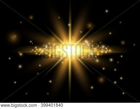 Gold Light Effect. Shining Star, Bokeh Effect And Flying Glow Vector Elements. Illustration Illumina