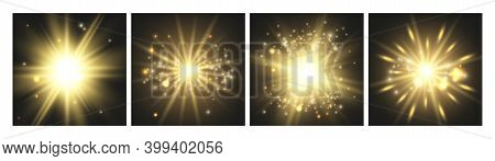 Shining Lights. Gold Cards, Glowing Effects Collection. Luxury Celebration Decorative Vector Element