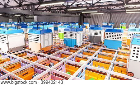 interior of a fully automated warehouse for the distribution of products. modern logistics concept. 3d render.