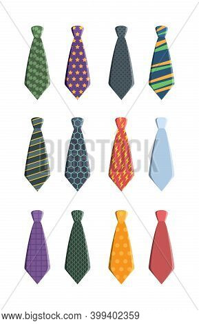 Tie Set. Business Clothes For Man Wardrobe Tie With Pattern Garish Vector Collection, Collection Tie