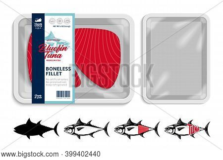 Vector White Tray Tuna Packaging Illustration