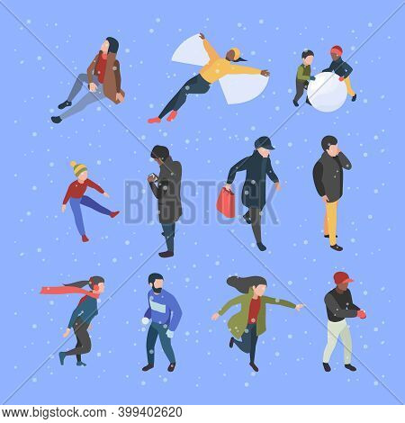 Winter Isometric People. Male And Female Characters In Clothes In Winter Season Garish Vector Illust
