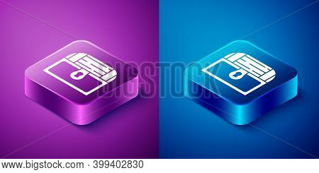Isometric Antique Treasure Chest Icon Isolated On Blue And Purple Background. Vintage Wooden Chest W