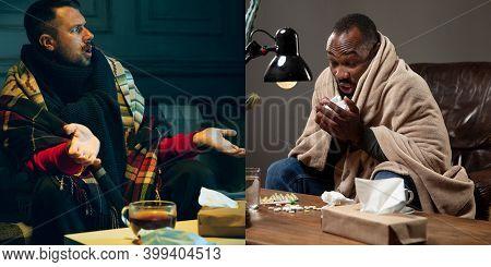 Collage Of Ill Man Feeling Sick And Healthy Man Avoiding Virus Spreading With Panic. Seasonal, Coron