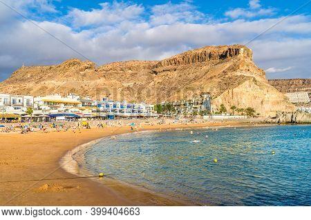 Landscape With Playa Mogan And Puerto De Mogan Village, Gran Canaria, Canary Islands, Spain