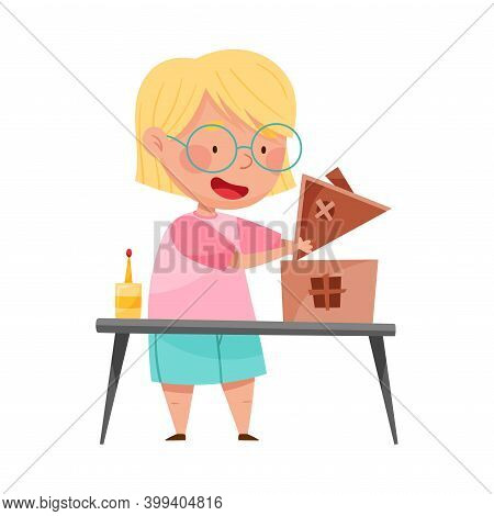 Inventive Girl Engaged In Upcycling Reusing Recyclable Material Vector Illustration