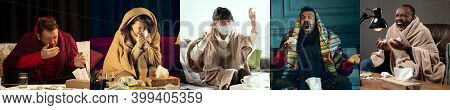 Collage Of Ill People Feeling Sick And Healthy People Avoiding Virus Spreading With Panic. Multiethn