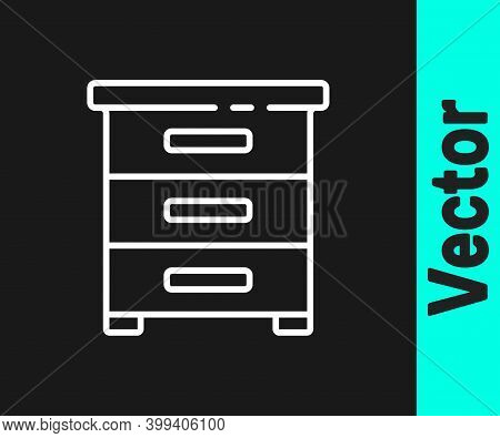White Line Drawer With Documents Icon Isolated On Black Background. Archive Papers Drawer. File Cabi