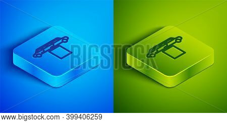 Isometric Line Luxury Limousine Car And Carpet Icon Isolated On Blue And Green Background. For World