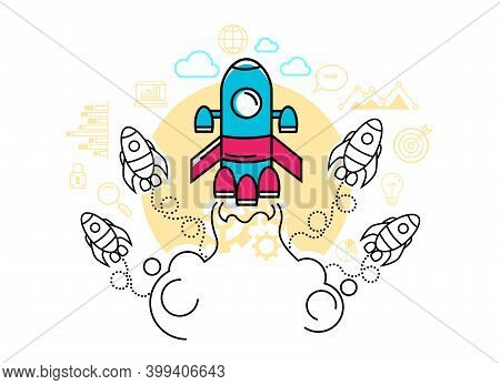 Start Up Project Infographic With Rocket. Beginning And Achievement Concept. Cartoon Character Flat