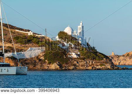 Chora, Ios Island, Greece- 23 September 2020: View Of The Agia Irini, Saint Irene, Greek Orthodox Ch