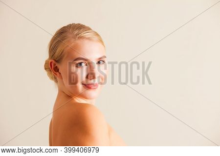 Natural Perfection Concept. Woman With Perfect Complexion On White