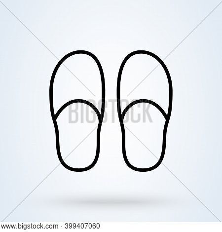 Slippers Sign Line Icon Or Logo. Slipper Home Concept. Bedroom Slippers Vector Linear Illustration.