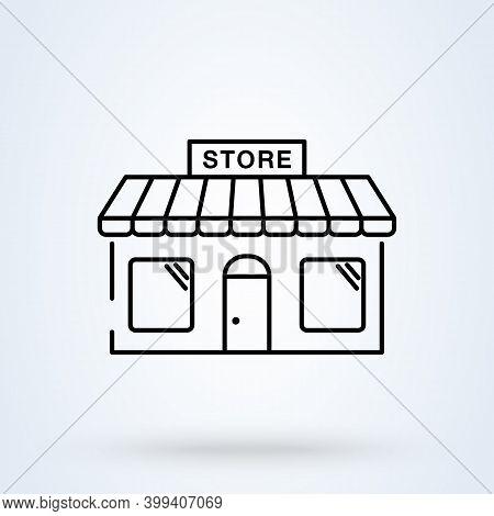 Online Store Sign Line Icon Or Logo. Marketplace Concept. Ecommerce Online Shop Vector Linear Illust