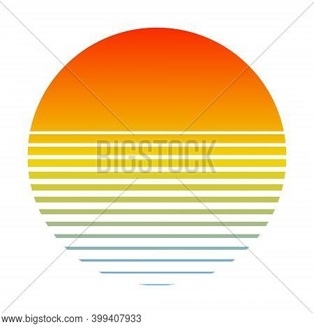Retro Sunset Over The Sea With Gradient Silhouette Of Sun And Water. Vintage Style Summer Logo Icon