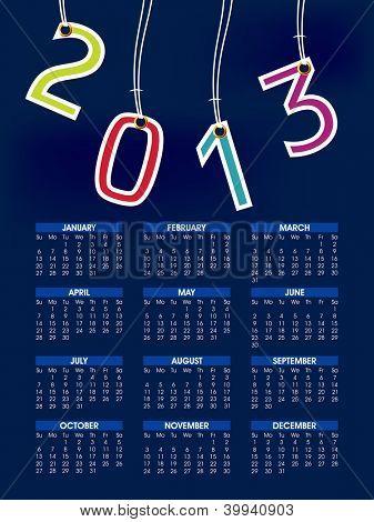 2013 year calender. EPS 10.