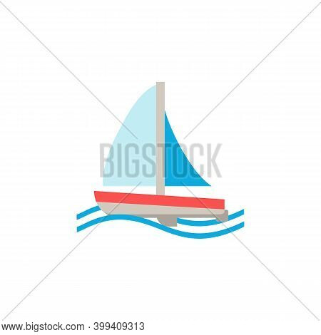 Sailboat Flat Icon. Color Simple Element From Summer Tourism Collection. Creative Sailboat Icon For