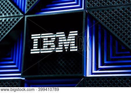 Moscow, Russia - December, 2020: Ibm Logo On A Storage Rack In Datacenter