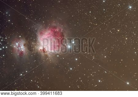 Great Orion Nebula complex taken with dedicated astrophotography camera on the telescope
