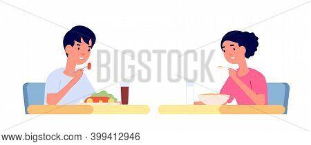 Children Eating. Healthy Meal, Kids Eat Snack And Drink At Table. Cartoon Boy Girl Kindergarten Brea