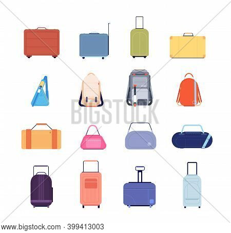 Travel Luggage. Vacation Suitcase, Isolated Backpack Plastic Tour Baggage. Vintage Flat Briefcase Ba