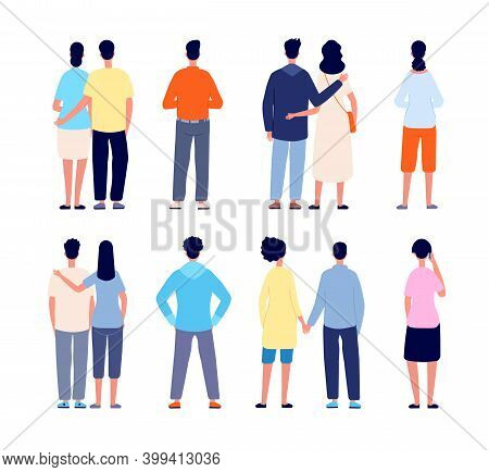 Couple Back. Love Behavior, Couples Holding Hands And Walking. Flat People Backside View, Romance Wa