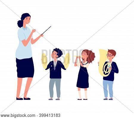 Children Musicians. Kids Orchestra, Music Lesson. Teacher Conductor Or Kapellmeister Of Boy Girl Wit