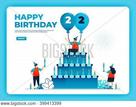 22th Birthday Vector Illustration With Health Protocol. Happy Quarantine Birthday Party. Birthday Si