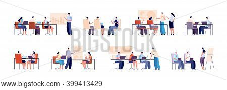 People On Business Training. Persons With Computer, Business Group Meeting. Modern Office Guys And C