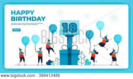 18th Birthday Vector Illustration With Health Protocol. Happy Quarantine Birthday Party. Birthday Si